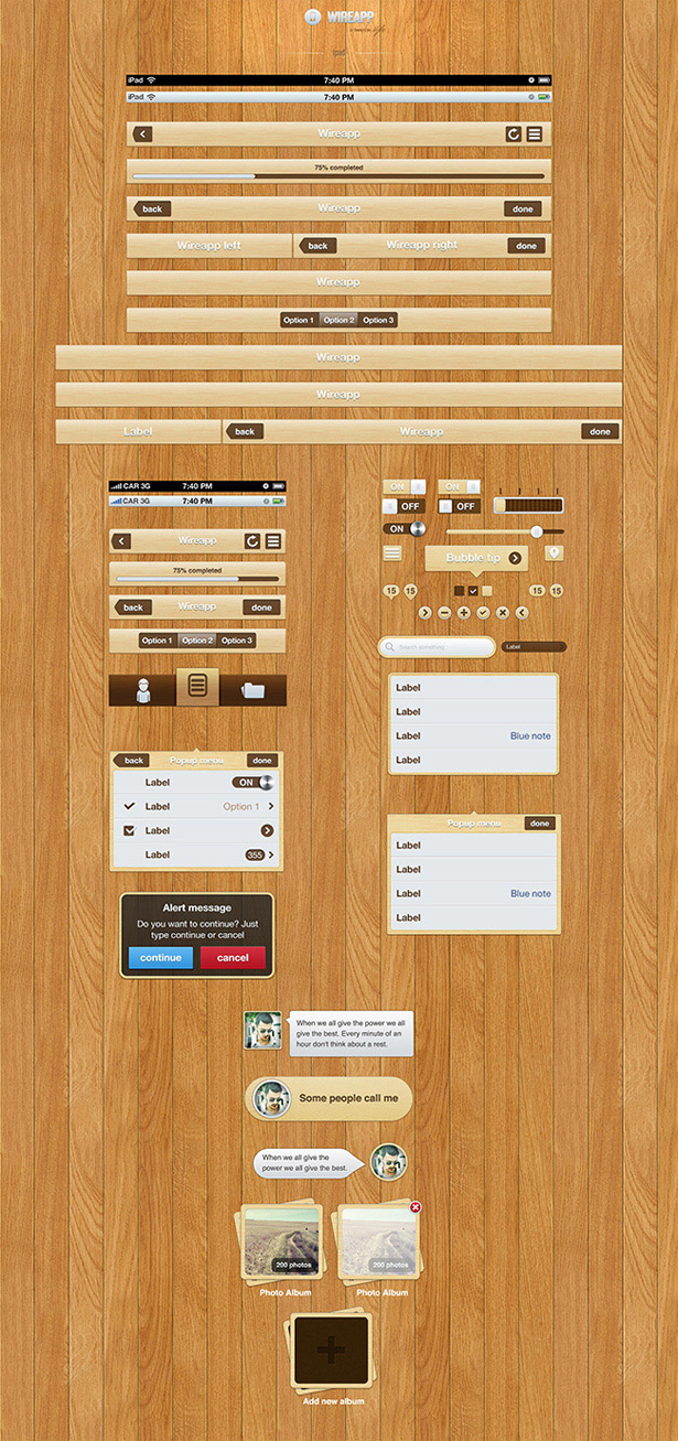 Wireapp Mobile UI Set - Wooden Style