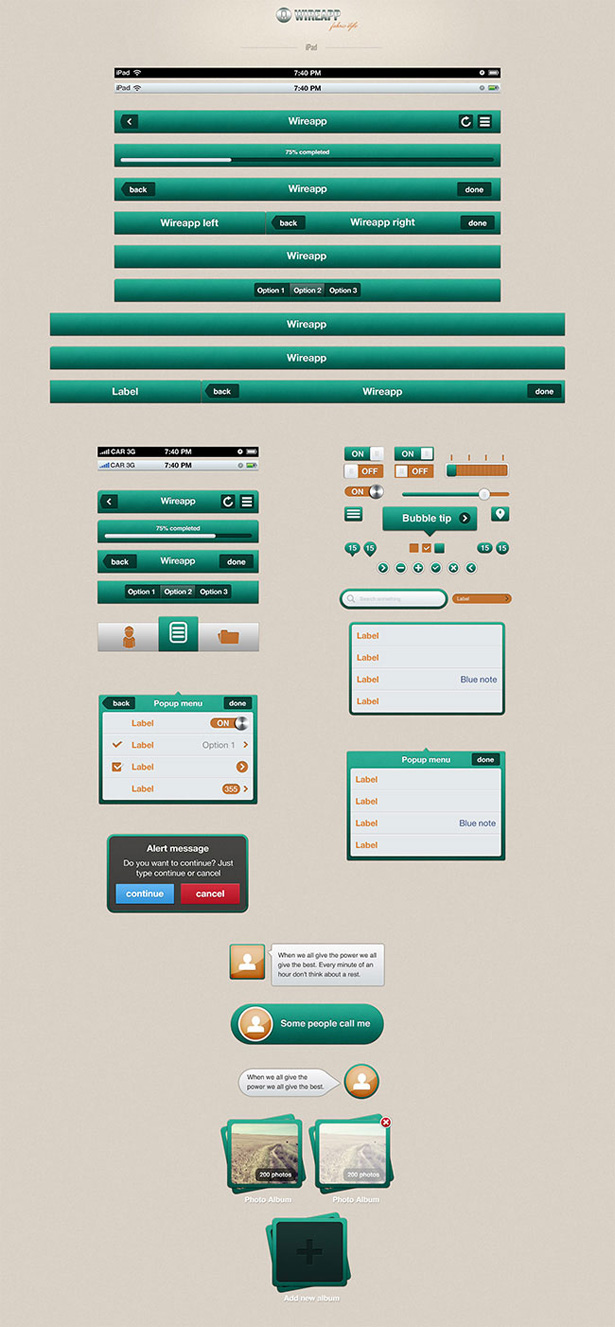 Wireapp Mobile UI Set - Fabric Style