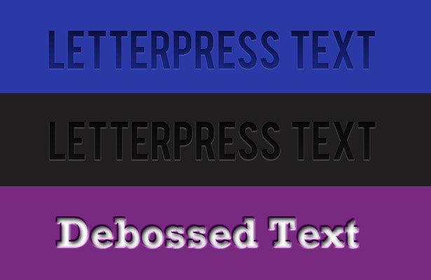 Letterpress and Deboss Text Styles