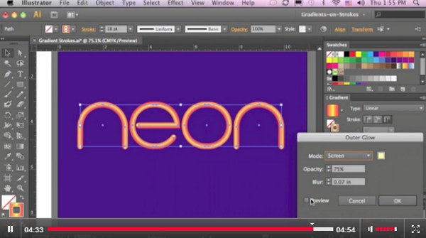 Creating Neon Text in Illustrator CS6
