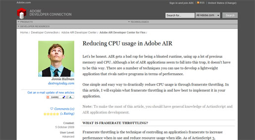 Reducing CPU Usage in Adobe AIR