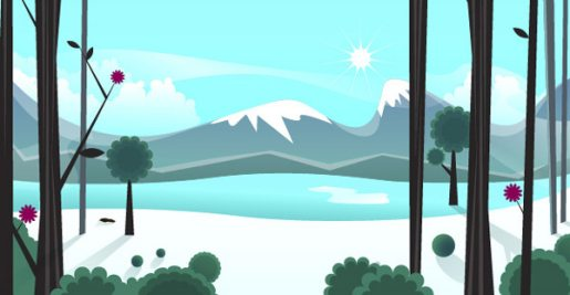 Smoothly Shift Winter Colors While Creating an Icy, Vector Landscape