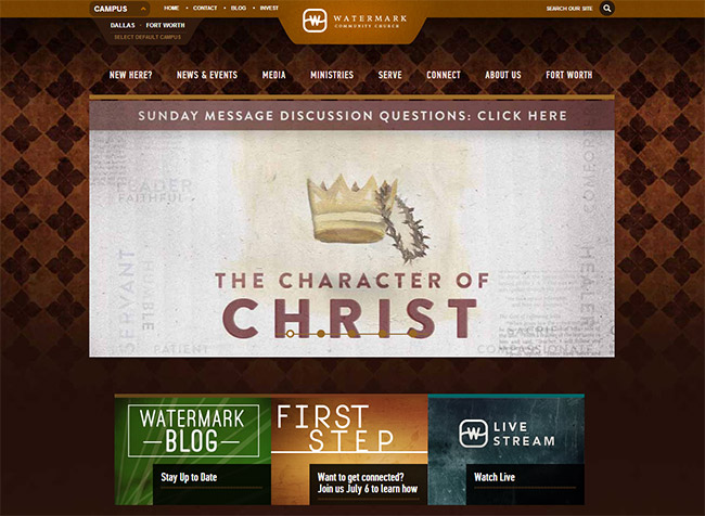 a parallax scrolling effect on some of the pages adds a nice touch - Church Website Design Ideas
