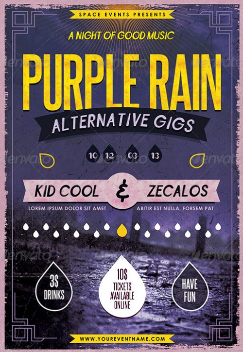 Purple Rain Poster and Flyer