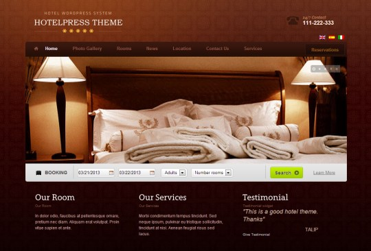Best wordpress hotel themes of 2014 for Ideal hotel design booking