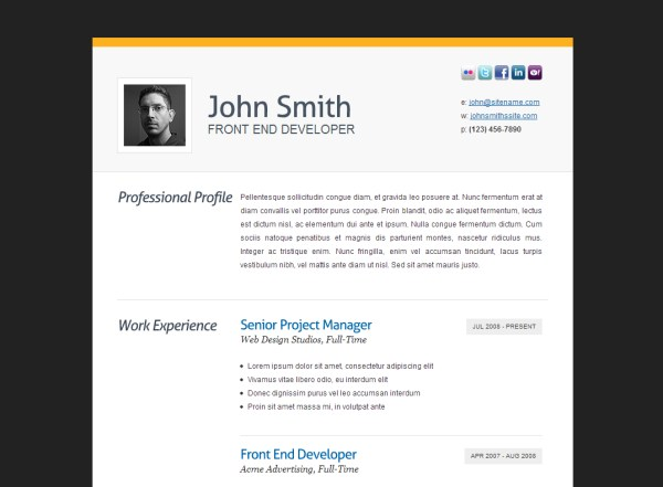 Exceptional Clean CV/Resume HTML Template In Resume Html Template