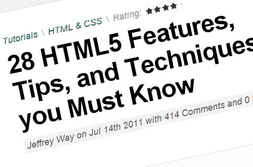 28 HTML5 Features, Tips, and Techniques you Must Know
