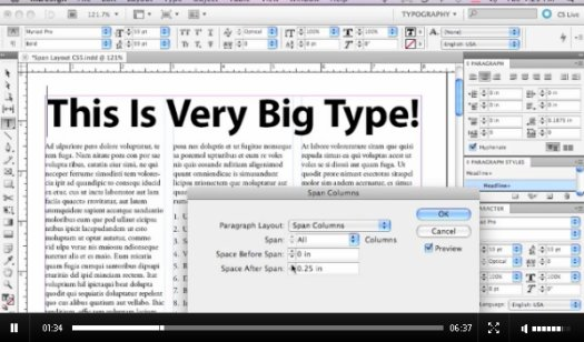 Span Columns in InDesign