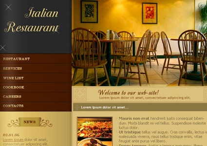 Web Layout for Italian Restuarant