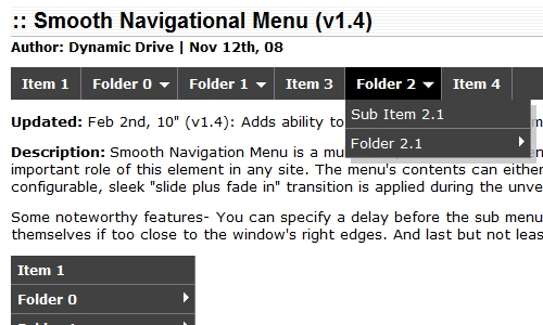 Smooth Navigation Menu