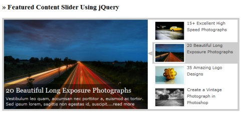 Create Featured Content Slider Using jQuery UI