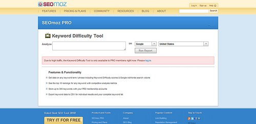 SEOmoz Keyword Difficulty Tool