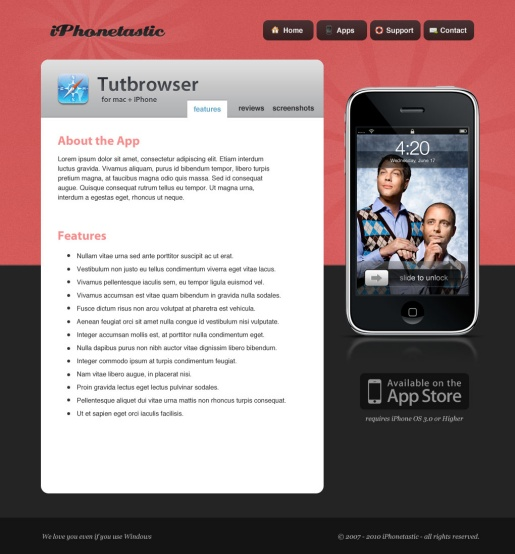 Create an iPhone App Website in Photoshop