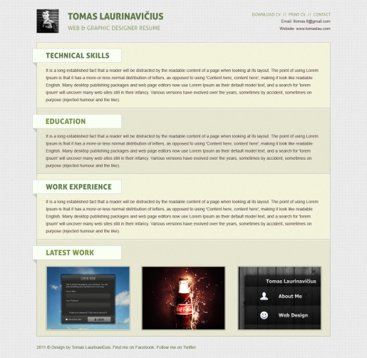 Create a Minimal Resume Website Design in Photoshop