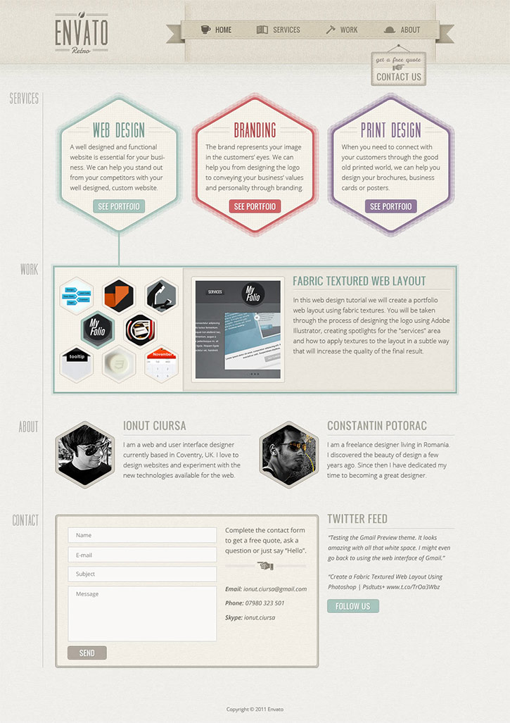 Create a One-Page Retro Web Design Layout in Photoshop