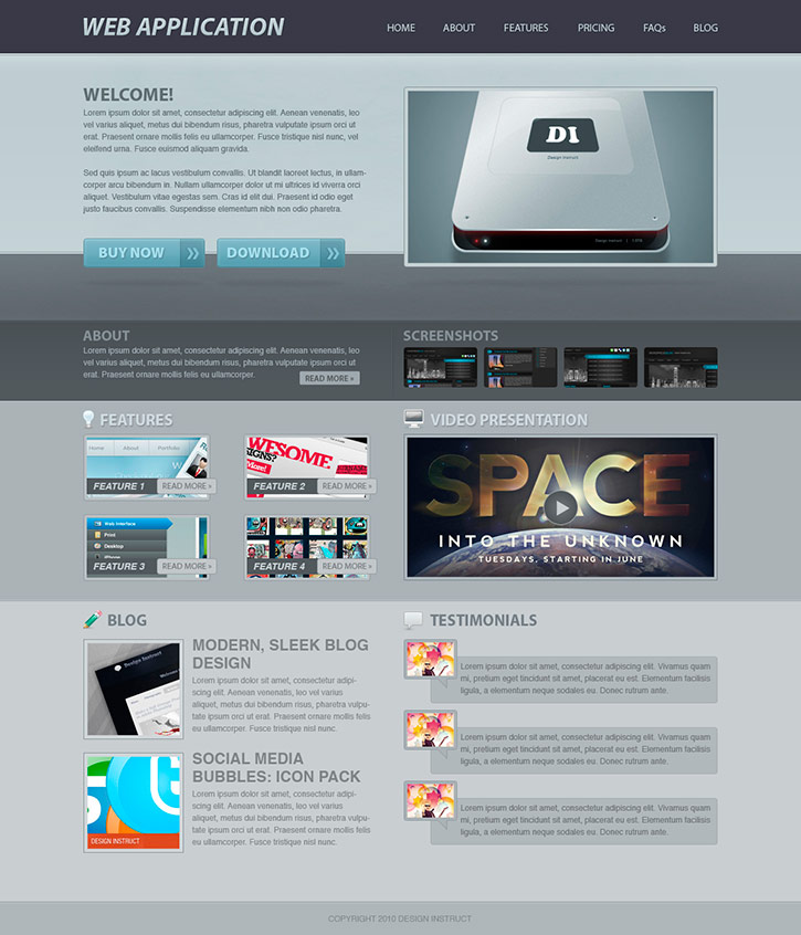 Create a Web Application Website Design in Photoshop