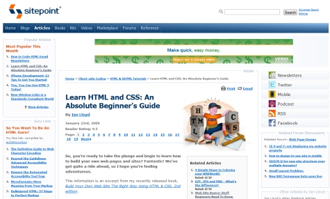 Learn HTML and CSS: An Absolute Beginner's Guide