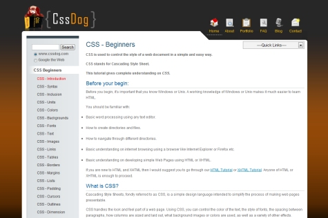 CSS Beginner Tutorials from CSSDog