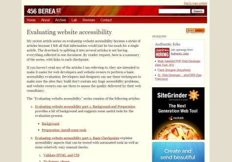 Evaluating Website Accessibility