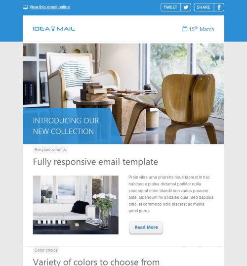 35 outstanding html email newsletter templates vandelay for Interior design email