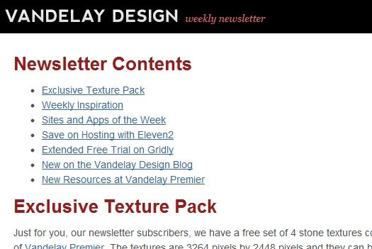 Vandelay Design Newsletter