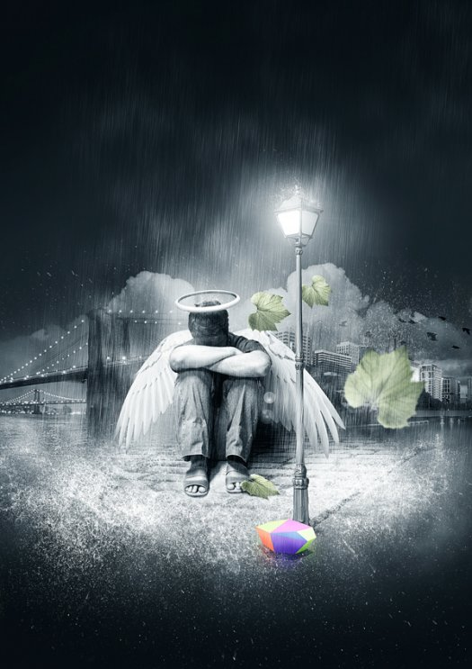 Create a Fallen, Rain-Soaked, Angel Composition in Photoshop