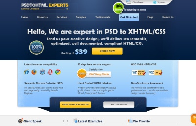 PSD to HTML Experts