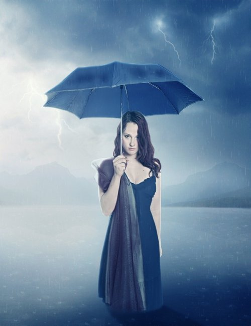 Let Me Sink - Emotional Rainy Scene Photo Manipulation