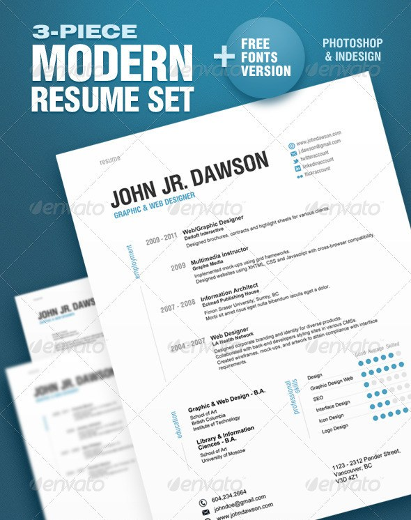3 piece modern resume set - Modern Resume Template Free Download