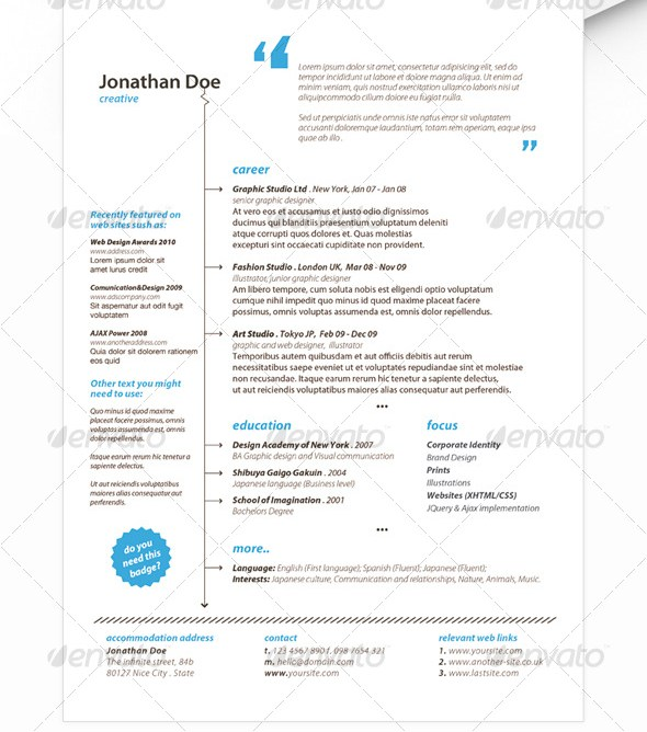 Minimalist Resume – $5 (Photoshop format)
