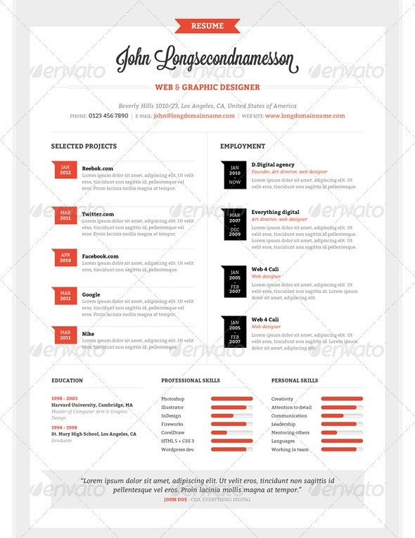 Illustrator Resume. Resume Cv Design Template + Cover Letter