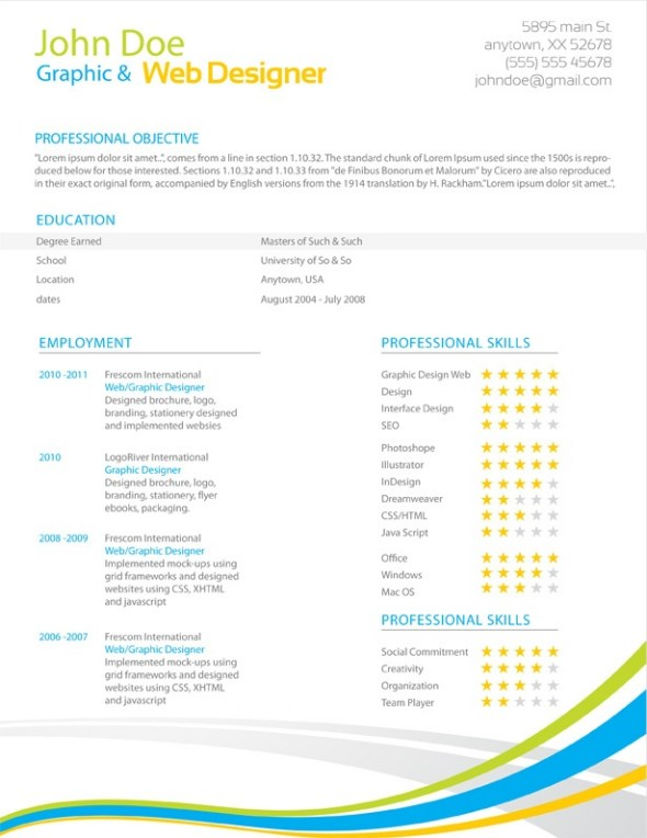 Colorful Stripes Resume