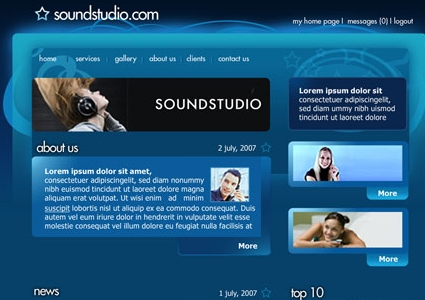 Sound System Studio Website Layout