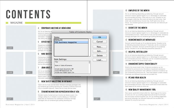 Generate An Indesign Table Of Contents From A Template