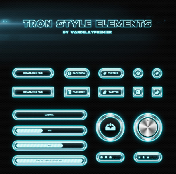 Free Download: Tron Style Elements PSD