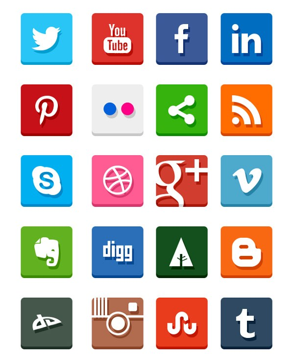 Simple Flat Social Media Icons