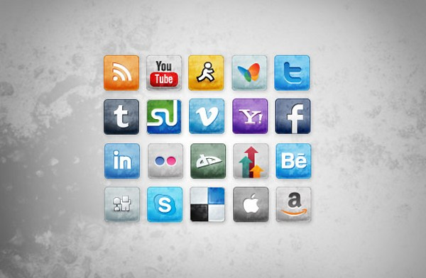Stained and Faded Social Media Icons