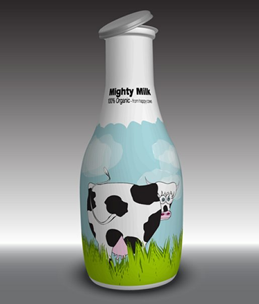 Create a Milk Bottle with a Funny Cow Label