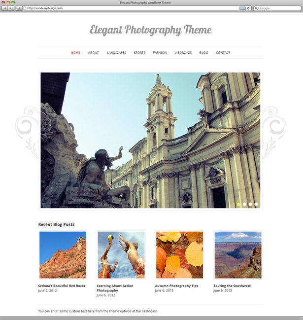 Elegant Photography WordPress Theme - Vandelay Design