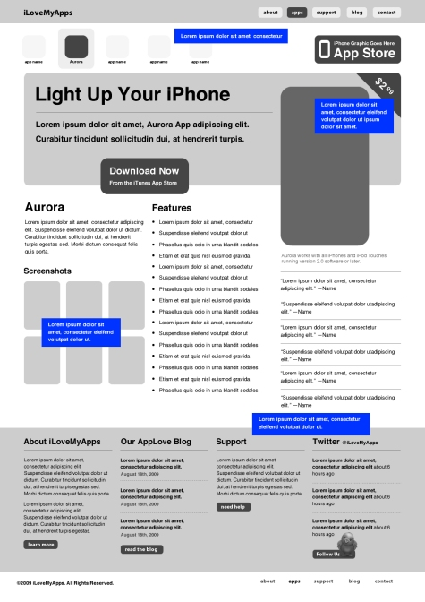 Build a Promotional iPhone App Website Wireframe in Fireworks