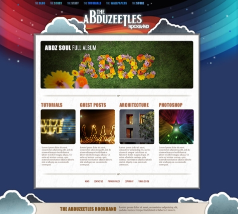 The Abduzeetles Rockband Website in Fireworks