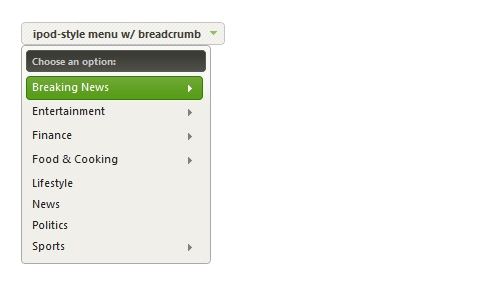 jQuery Menu: Dropdown, Drilldown, and iPod Flyout Styles