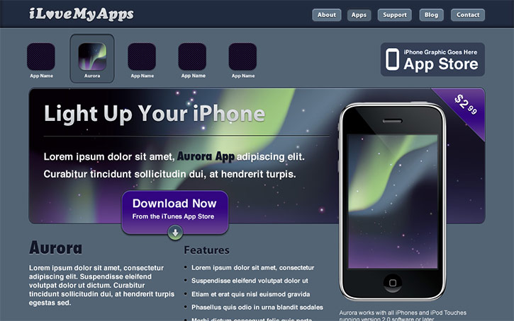 Create a Promotional iPhone App Site in Photoshop