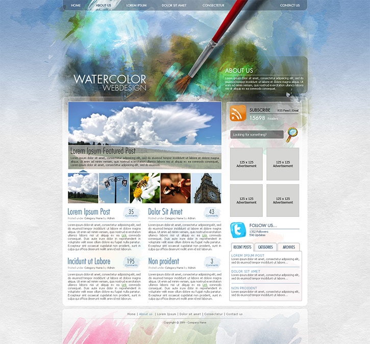 Create a Watercolor-Themed Website Design with Photoshop
