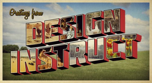 Design a Retro Postcard with 3D Text