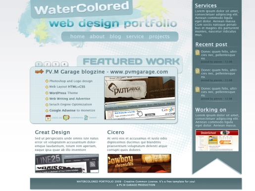 Create a Nice Web Portfolio Design with a Watercolored Background in Photoshop